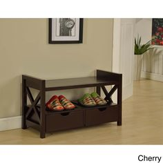 This versatile storage bench features elegant design and durable construction. Perfect for any entryway, this bench has a sitting area, a shelf and two drawers to store shoes, toys and more.