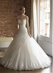 Gorgeous Organza & Satin &  Tulle With Beaded Lace Appliques Ball Gown Sweetheart Neckline Wedding Dress