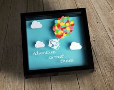 Adventure is Out There, Handmade Papercut in a stylish shadow box frame, Black or White