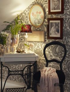 Refurbish an old sewing table Cole & Son Malabar wallpaper in black and white