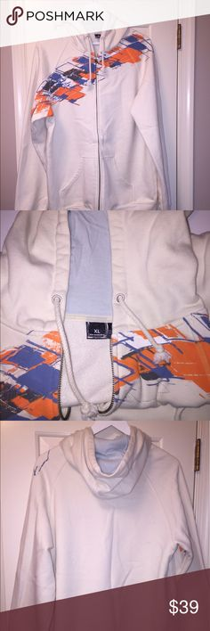 Oakley Men's zip hoodie - make an offer! Very lightly worn!!  Oakley Men's Hoodie - full front zip up color: off white/ cream with blue and orange detail size: XL - fourth picture shows the light spot on sleeve Oakley Other