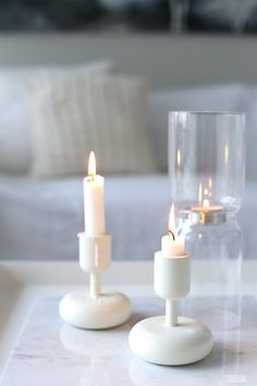 Iittala Nappula Candels, Pillar Candles, Scandinavian Christmas, Marimekko, White Houses, Good Vibes Only, Home Interior, Christmas Lights, Floor Lamp
