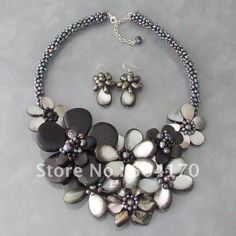 pearl necklaces | Pearls & Mother of Pearl Necklace Huge Shell Flower Necklace ...