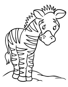 Cute Giraffes and Zebra Colouring Pages