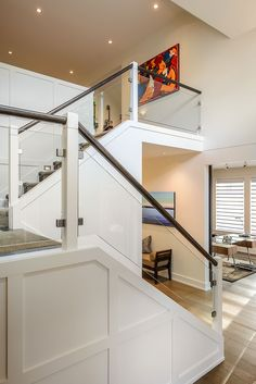 inspired by the many custom glass railing pictures from our various jobs completed in Victoria BC Interior Stair Railing, Stair Banister, House Staircase, Stair Railing Design, Home Stairs Design, Staircase Remodel, House Design, Glass Stair Railing, Modern Staircase Railing
