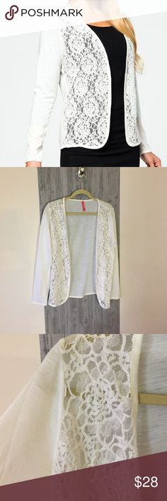 """Ruby Ribbon Liz Cardigan """"Off White"""" Cute lace cardigan made by Ruby Ribbon. Great layering piece! Never worn. Off white color. Ruby Ribbon Sweaters Cardigans"""