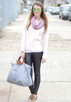 Travel style: leather leggings and leopard slip on sneakers