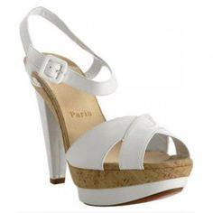 christian louboutin white patent 'Lafalaise' platform sandals  ¥160