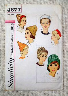 Vintage 1960s Pattern Simplicity 4677 hat by momandpopcultureshop