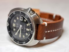 20mm brown handmade leather watch strap Panerai, Seiko, Breitling  watches