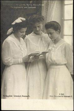 Princesses de Saxe : Margareth (1900-1962), Marie-Alix (1901-1990) et Anna-Monika (1903-1976)