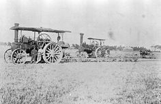 Steam Ploughing with Two Traction Engines Each Pulling Three Ploughs, Werribee, Victoria, 1910