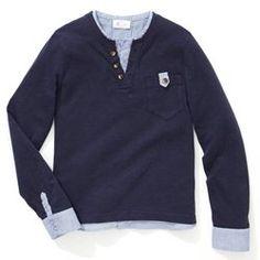 Camisola de mangas comprodas, efeito 2 em 1, 3-12 anos abcd'R - Menino, Rapaz