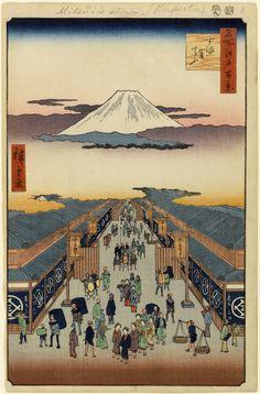 Mount Fuji above Ancient Street Ukiyo-e Japanese Art Art Print by VintageArchive - X-Small Monte Fuji, Japon Tokyo, Japanese Woodcut, Hokusai, Japon Illustration, Art Japonais, Japanese Painting, Japan Art, Japan Japan