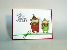 Buddy and Jolly (Stamping Bella); Cozy Comfy (Impression Obsession); Pierced rectangle die (My Favorite Things); Copics