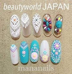 Super Nails Blue Design Tiffany Ideas - All For Hair Color Trending Bohemian Nails, Blue Nail Designs, Blue Design, Diy Design, Asian Nails, May Nails, Tips & Tricks, Super Nails, Flower Nails