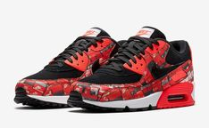 """online store d1853 61e52 ... Release Date  May 25, 2018 Price   230. See more. Nike Air Max 90 Print  """"We Love Nike"""" Color  Black Bright Crimson"""
