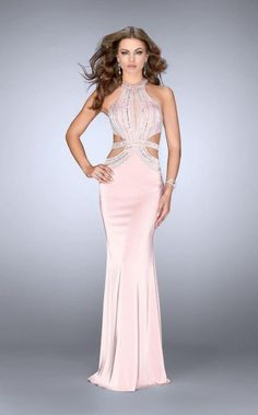 bcacd612fdc GiGi - Halter Style Beaded Strappy Cutout Jersey Prom Dress 24554 Column  Dress