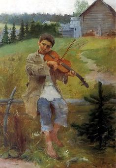 Boy with Violin by Nikolai Bogdanov-Belsky, 1897 Russian Painting, Russian Art, Violin Art, Art Database, Oeuvre D'art, Art Music, Art For Kids, Berlin, Art Gallery