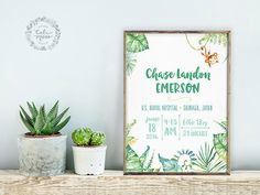 Personalized custom baby nursery pink tropical jungle hawaii tropical jungle plants monkey personalized custom baby nursery artwork birth announcement baby wall art baby shower negle Gallery