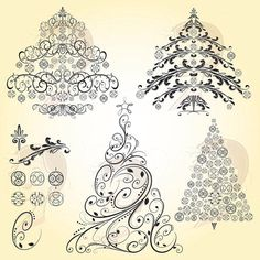 Digital Christmas Trees Vintage Christmas Retro by MayPLDigitalArt, $5.20