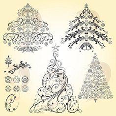 Christmas Trees Vintage Christmas Retro Heritage Old World Flourish LARGE Xmas Trees Ornaments Graphics Bauble Black Clip Art DIY Card 10008