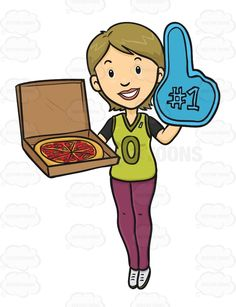 sports fan clipart. female sport fan holding a foam finger and pizza sports clipart