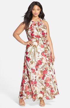 Adrianna Papell Halter Style Floral Maxi Dress (Plus Size) available at #Nordstrom