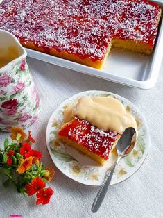 Coconut and Jam Sponge is part of Jam cake recipe This Coconut and Jam Sponge tray bake is a taste of my childhood, in fact it's a taste many of us can relate to having attended school here in the - Fun Desserts, Delicious Desserts, Dessert Recipes, Yummy Food, Tray Bake Recipes, Baking Recipes, Uk Recipes, Coconut Recipes, Coconut Sponge Cake