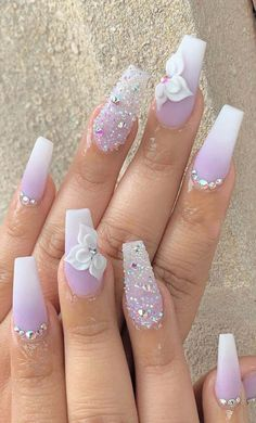 "May 2020 - Explore weddingsonlyin's board ""Bridal Nail Art Designs Pink Ombre Nails, Pink Nail Art, Summer Acrylic Nails, Best Acrylic Nails, Ombre Nail Art, Summer Nails, Color Nails, 3d Nail Art, Bridal Nails"