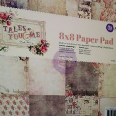 Shabby chic card stock pad from Prima' new Tales of You and Me collection. Beautiful distressed papers with lots of faded roses for that vintage romantic look.