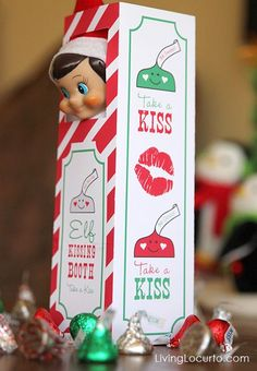 Sweet Elf on the Shelf Kissing Booth. Printable & Idea by Amy at LivingLocurto.com