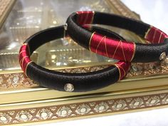 Read and brown colour silkthread bangles