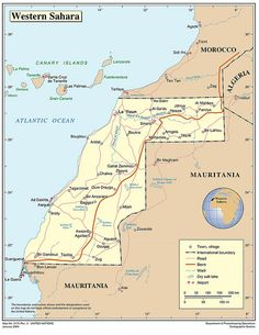 Western Sahara Map ~ Western Sahara (Tutrimt) is a country in the Maghreb region of North Africa, bordered by Morocco to the north, Algeria to the northeast, Mauritania to the east and south, and the Atlantic Ocean to the west.