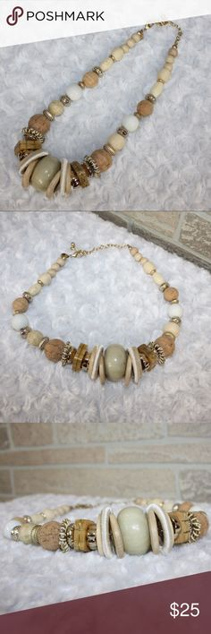 Chico's Wood Beaded Necklace Chico's Wood Beaded Necklace  In great condtion Chico's Jewelry Necklaces