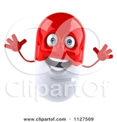Clipart Of A 3d Red And White Pill Capsule Jumping - Royalty Free CGI Illustration by Julos