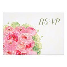 Elegant Floral Design Custom Wedding RSVP Cards