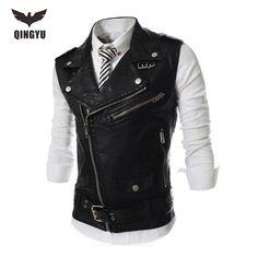 2017 New Brand Mens Leather Motorcycle Vest Harley Mens Leather Vest Red Waistcoat Steampunk Rock Slim Zipper Sleeveless Jacke