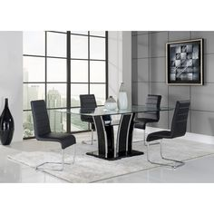 This contemporary glass table features a sleek and unique design that will add bold style to your dining room. The rectangular base is finished in black while the chrome accents and glass top with a lower shelf complete the look.