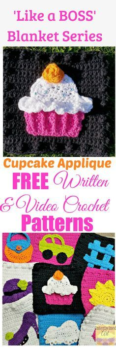 """Free written pattern and video tutorial for a Crochet Cupcake Applique. """"Like a Boss"""" Blanket Series Crochet Cupcake Square Pattern."""