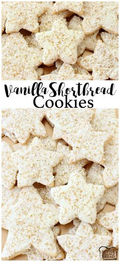 Bright & Sparkly Vanilla Shortbread Cookies - these festive, buttery Shortbread Cookie stars are chocolate coated and sprinkled to holiday perfection! Easy recipe from Butter With A Side of Bread