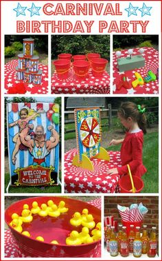 (CELEBRATE SPECIAL TIMES,) Driven By Décor: A Carnival / Circus Themed Birthday Party Thinking about hosting a carnival or circus birthday party? I'm sharing the games, prizes, and food that made our carnival party a huge success! Circus Carnival Party, Kids Carnival, Circus Theme Party, Carnival Birthday Parties, Birthday Fun, First Birthday Parties, Birthday Party Themes, Carnival Party Decorations, Circus Wedding