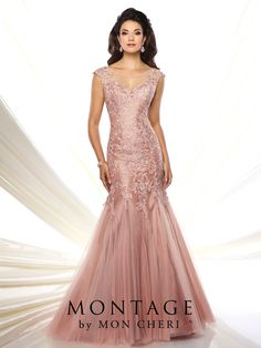 Montage by Mon Cheri - 116953 - Organza, tulle, and lace mermaid gown with cap sleeves, illusion bateau neckline over sweetheart bodice, V-back, lace bodice with dropped waist, sweep train. Matching shawl included.  Sizes: 4 - 20, 16W - 26W  Colors: Rose Frost, Dark Sage, Pewter