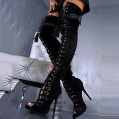 Sexy Black Brown Snakeskin Long Boots Over-the-knee Peep Toe Boots Lace-up Braided Fringe Boots Strappy Footwear Metal Heels Thigh High Boots, High Heel Boots, Heeled Boots, High Heels, High Sandals, Gladiator Boots, Boot Heels, Ankle Boots, Botas Sexy
