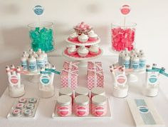 """Spa Candy""...designed to look like a dessert table, it is full of bath and body products perfect for a spa party"