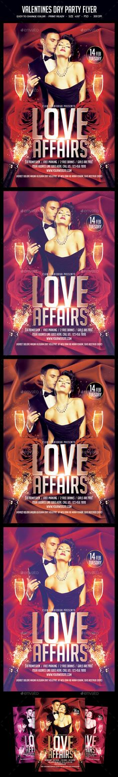 """Valentines Day Party Flyer A unique party flyer, invitation design for your next party. The final package you download includes a fully layered, renamed, grouped PSD file. Print dimensions:4x6"""" with .25"""" bleeds Features:Model image not included Images are Smart Objects Easy editable text CMYK @ 300 DPI ? Print-ready 100 scalable Perfectly Aligned"""