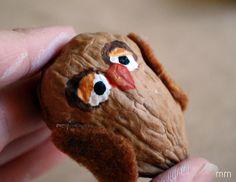 MirandaMade: Owl Walnut Ornament