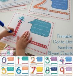 Printable Dot-to-Dot Number Rhyme Charts - can be used as a chart or dry erase mat. Sing the number rhymes to guide you through what strokes to make with the marker pen to form the correct number shape Numbers Preschool, Learning Numbers, Math Numbers, Preschool Learning, Kindergarten Math, Learning Activities, Kids Learning, Activities For Kids, Learning Time