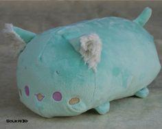 Cat Tsumu Plush // Kawaii Kitty Roll Plushie // Handmade Stuffed Animal Plush Toy // Mint Kitten // Ready to Ship