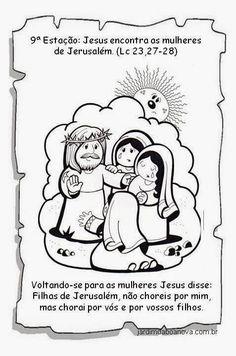 Jardim da Boa Nova: Via Sacra Activities, Comics, Kids Bible Activities, Easter Story For Kids, Sunday School Kids, Catechism, Sunday School, Crafts, Paintings